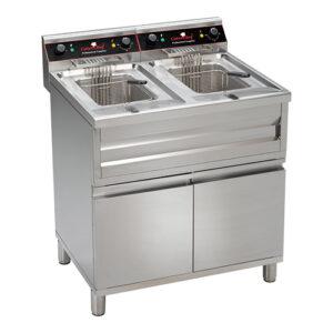 CaterChef elektrische friteuse 2x12 liter met aftapkraan en onderkast - 508224
