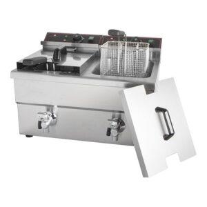 CaterChef elektrische friteuse 2x 8 liter met aftapkraan - 688882