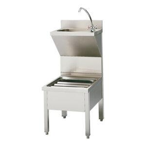 RVS handenwas-unit met voetpedaal, kraan en zeepdispenser - 317130