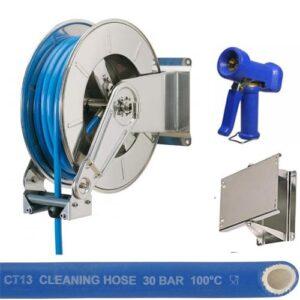 RVS automatische slanghaspel met 25m Food Service rubber slang, spuitpistool en wandscharnier