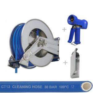 RVS automatische slanghaspel met 10-15-20m Food Service rubber slang, spuitpistool en wandscharnier
