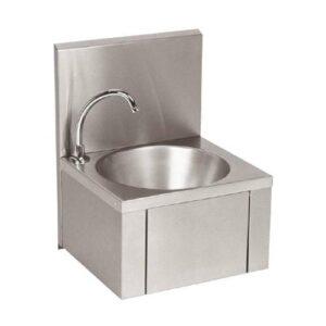 Linum RVS handenwasbak met kniebediening en kraan | 380x350 mm - KRO-110N